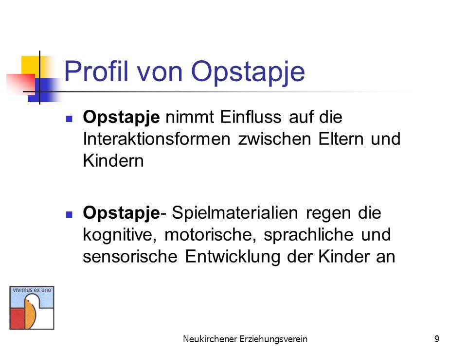 Neukirchener Erziehungsverein9 Profil von Opstapje Opstapje nimmt Einfluss auf die Interaktionsformen zwischen Eltern und Kindern Opstapje- Spielmater