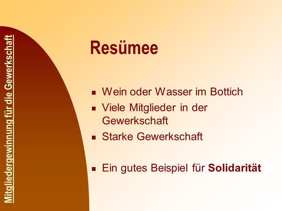 Resümee Wein oder Wasser im Bottich Viele Mitglieder in der Gewerkschaft Starke Gewerkschaft Ein gutes Beispiel für Solidarität