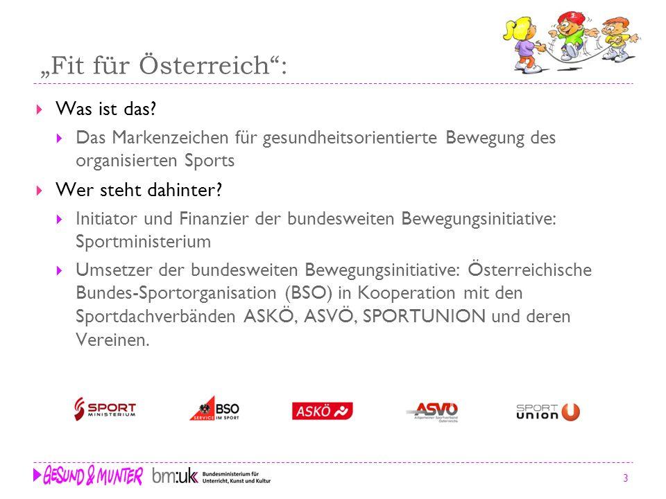 14 Kontakt Geschäftsstelle Fit für Österreich c/o Österreichische Bundes-Sportorganisation (BSO) 1040 Wien; Prinz Eugen-Straße 12 Tel.: +43 / 1 / 504 44 55-12 Mobil: +43 / 664 / 804 55 55 Fax: +43 / 1 / 504 44 55-66 e-mail: c.halbwachs@fitfueroesterreich.atc.halbwachs@fitfueroesterreich.at www.fitfueroesterreich.at