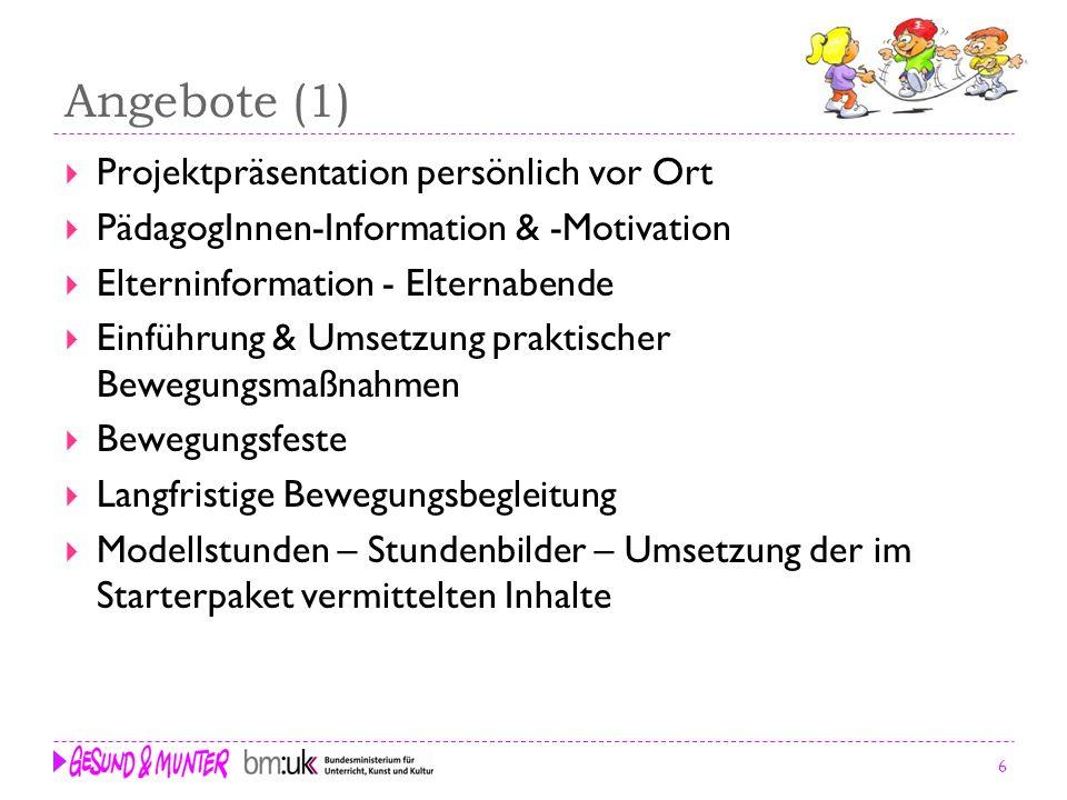 6 Angebote (1) Projektpräsentation persönlich vor Ort PädagogInnen-Information & -Motivation Elterninformation - Elternabende Einführung & Umsetzung p