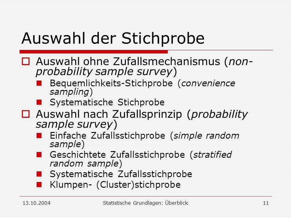 13.10.2004Statistische Grundlagen: Überblick11 Auswahl der Stichprobe Auswahl ohne Zufallsmechanismus (non- probability sample survey) Bequemlichkeits