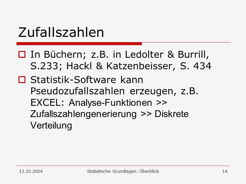 13.10.2004Statistische Grundlagen: Überblick14 Zufallszahlen In Büchern; z.B. in Ledolter & Burrill, S.233; Hackl & Katzenbeisser, S. 434 Statistik-So