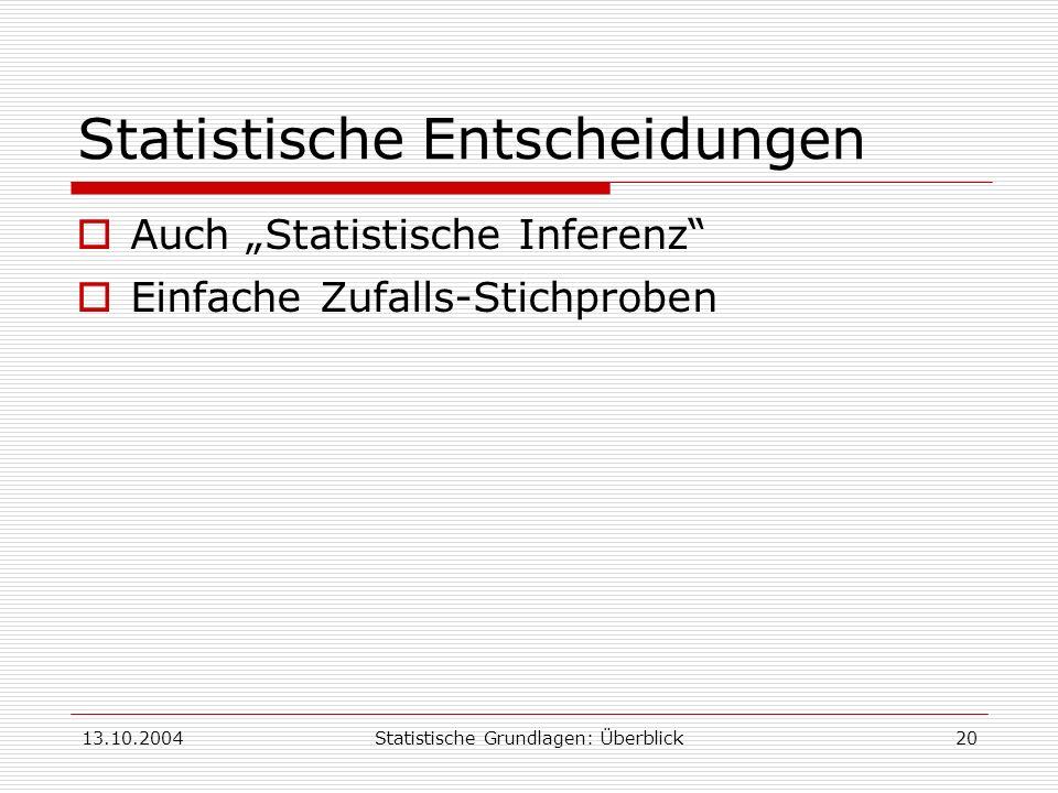 13.10.2004Statistische Grundlagen: Überblick20 Statistische Entscheidungen Auch Statistische Inferenz Einfache Zufalls-Stichproben