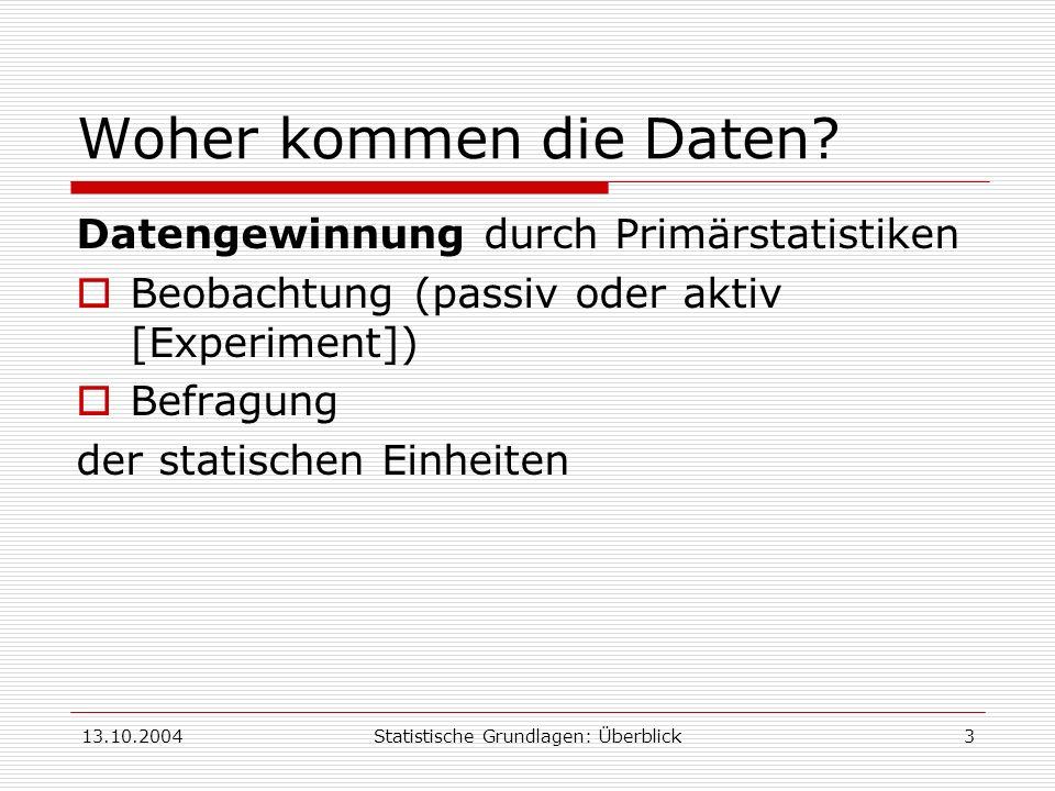13.10.2004Statistische Grundlagen: Überblick3 Woher kommen die Daten? Datengewinnung durch Primärstatistiken Beobachtung (passiv oder aktiv [Experimen