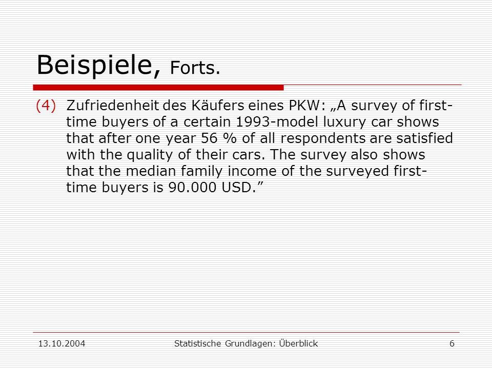 13.10.2004Statistische Grundlagen: Überblick6 Beispiele, Forts. (4)Zufriedenheit des Käufers eines PKW: A survey of first- time buyers of a certain 19