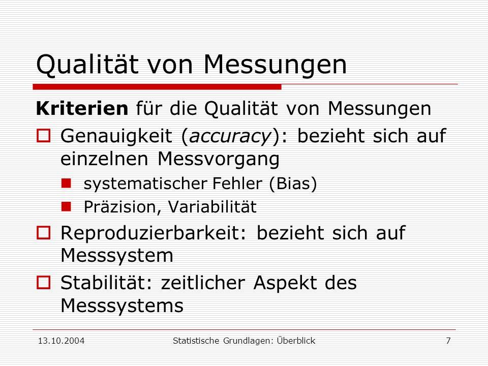 13.10.2004Statistische Grundlagen: Überblick7 Qualität von Messungen Kriterien für die Qualität von Messungen Genauigkeit (accuracy): bezieht sich auf