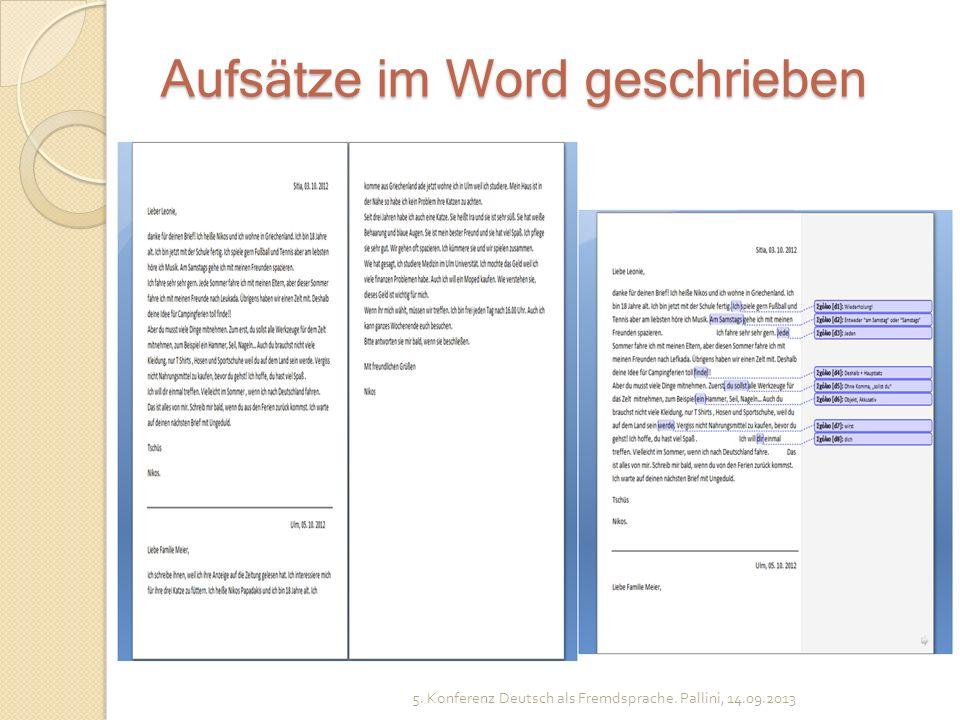 Aufsätze im Word geschrieben 5. Konferenz Deutsch als Fremdsprache. Pallini, 14.09.2013