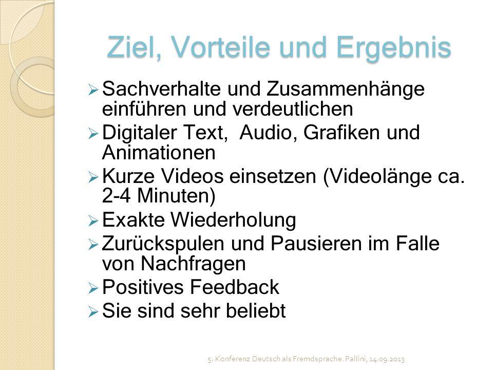 Ziel, Vorteile und Ergebnis Sachverhalte und Zusammenhänge einführen und verdeutlichen Digitaler Text, Audio, Grafiken und Animationen Kurze Videos ei