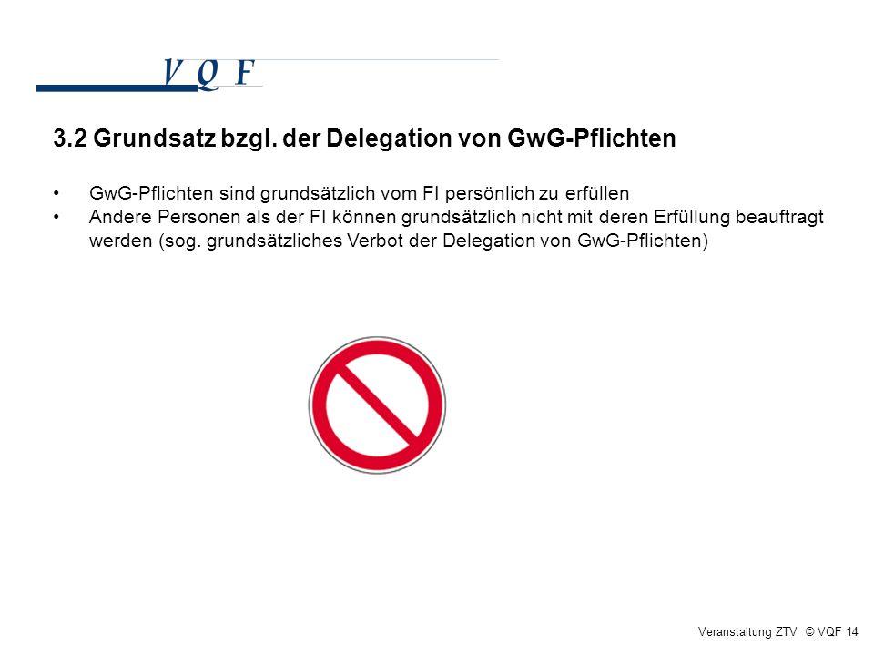Veranstaltung ZTV © VQF 14 3.2 Grundsatz bzgl. der Delegation von GwG-Pflichten GwG-Pflichten sind grundsätzlich vom FI persönlich zu erfüllen Andere