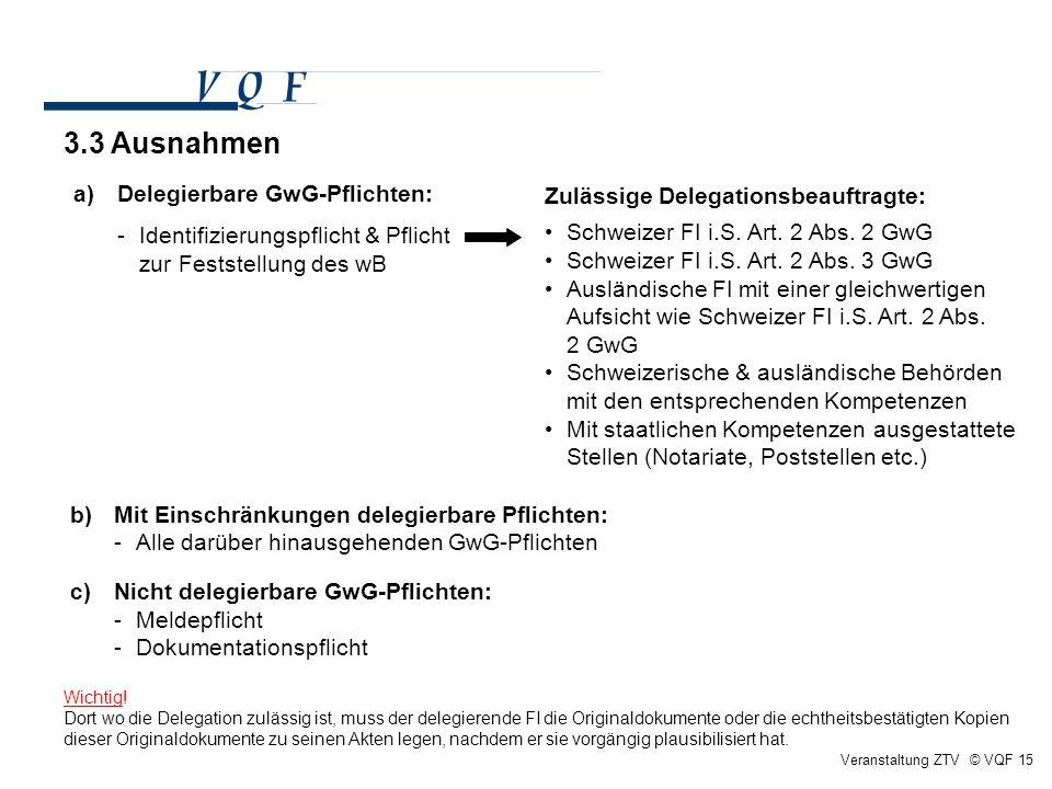 Veranstaltung ZTV © VQF 15 a)Delegierbare GwG-Pflichten: -Identifizierungspflicht & Pflicht zur Feststellung des wB Zulässige Delegationsbeauftragte: