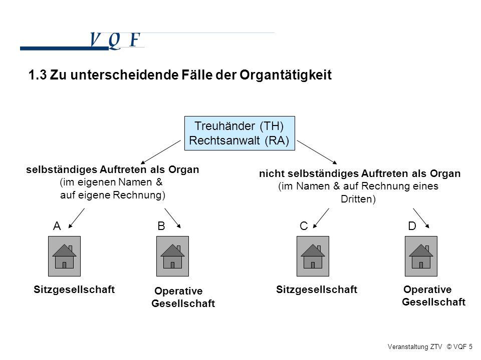 Veranstaltung ZTV © VQF 5 Treuhänder (TH) Rechtsanwalt (RA) selbständiges Auftreten als Organ (im eigenen Namen & auf eigene Rechnung) nicht selbständ