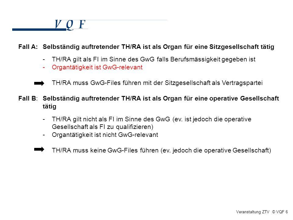 Veranstaltung ZTV © VQF 6 Fall A: Selbständig auftretender TH/RA ist als Organ für eine Sitzgesellschaft tätig - TH/RA gilt als FI im Sinne des GwG fa
