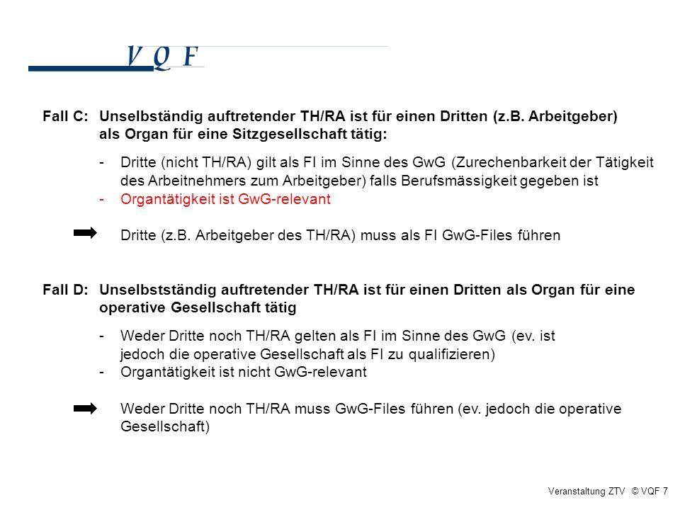 Veranstaltung ZTV © VQF 7 Fall C:Unselbständig auftretender TH/RA ist für einen Dritten (z.B. Arbeitgeber) als Organ für eine Sitzgesellschaft tätig: