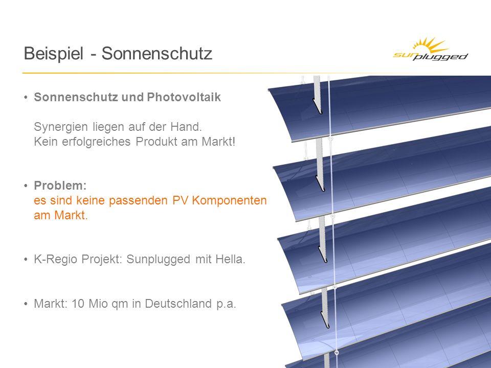 Beispiel - Sonnenschutz Sonnenschutz und Photovoltaik Synergien liegen auf der Hand.