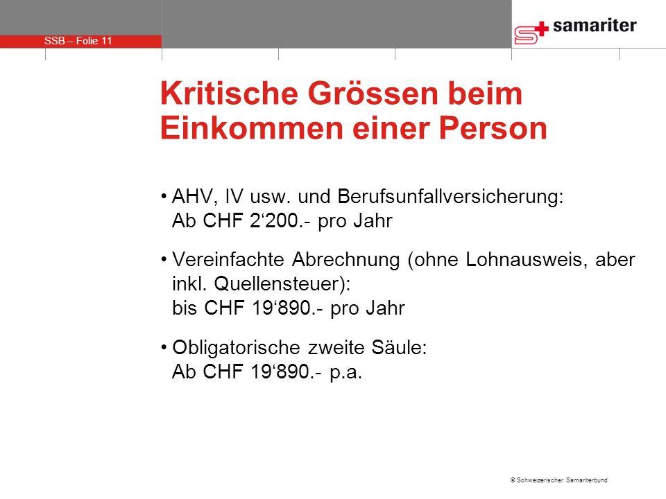 SSB – Folie 11 © Schweizerischer Samariterbund Kritische Grössen beim Einkommen einer Person AHV, IV usw. und Berufsunfallversicherung: Ab CHF 2200.-