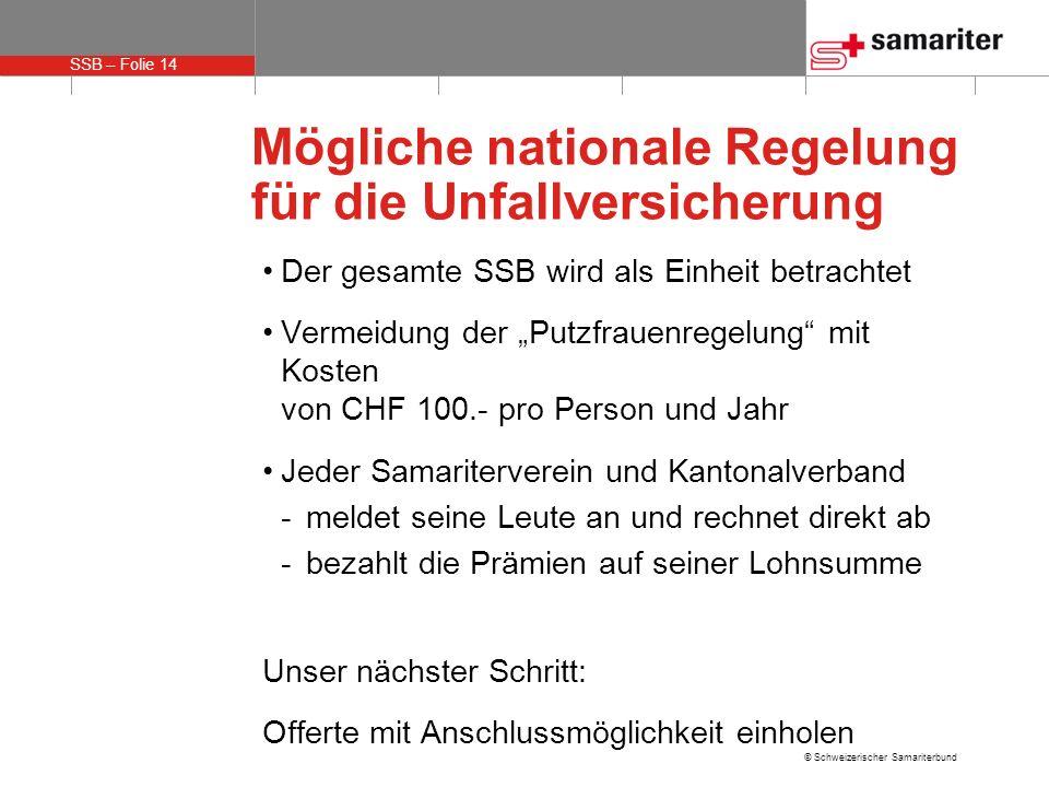 SSB – Folie 14 © Schweizerischer Samariterbund Mögliche nationale Regelung für die Unfallversicherung Der gesamte SSB wird als Einheit betrachtet Verm