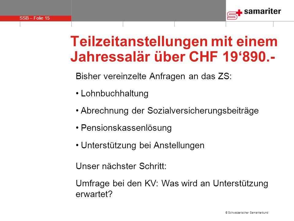 SSB – Folie 15 © Schweizerischer Samariterbund Teilzeitanstellungen mit einem Jahressalär über CHF 19890.- Bisher vereinzelte Anfragen an das ZS: Lohn