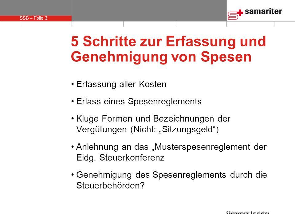SSB – Folie 3 © Schweizerischer Samariterbund 5 Schritte zur Erfassung und Genehmigung von Spesen Erfassung aller Kosten Erlass eines Spesenreglements