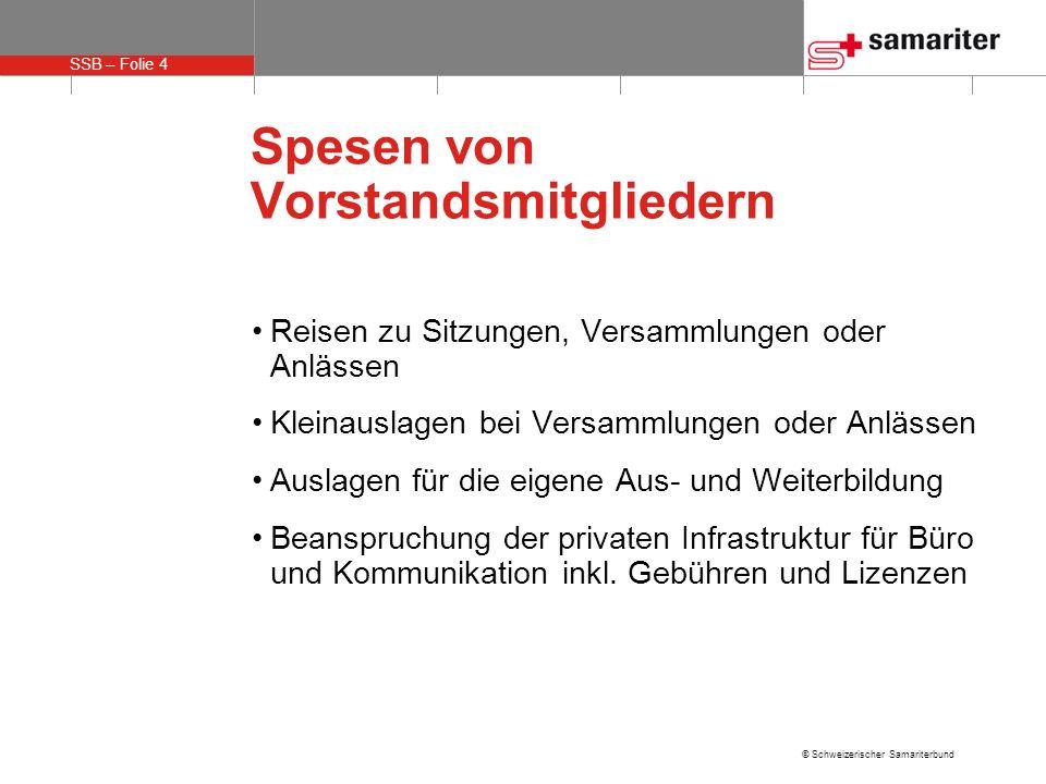 SSB – Folie 4 © Schweizerischer Samariterbund Spesen von Vorstandsmitgliedern Reisen zu Sitzungen, Versammlungen oder Anlässen Kleinauslagen bei Versa