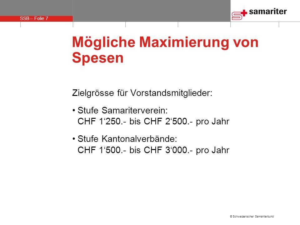 SSB – Folie 7 © Schweizerischer Samariterbund Mögliche Maximierung von Spesen Zielgrösse für Vorstandsmitglieder: Stufe Samariterverein: CHF 1250.- bis CHF 2500.- pro Jahr Stufe Kantonalverbände: CHF 1500.- bis CHF 3000.- pro Jahr