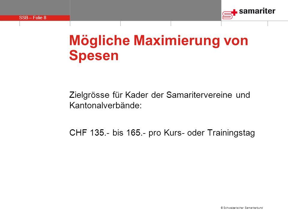 SSB – Folie 8 © Schweizerischer Samariterbund Mögliche Maximierung von Spesen Zielgrösse für Kader der Samaritervereine und Kantonalverbände: CHF 135.- bis 165.- pro Kurs- oder Trainingstag