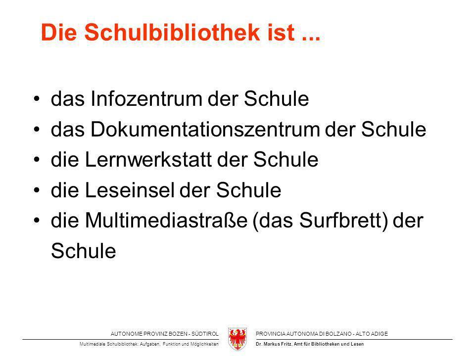 AUTONOME PROVINZ BOZEN - SÜDTIROLPROVINCIA AUTONOMA DI BOLZANO - ALTO ADIGE Dr. Markus Fritz, Amt für Bibliotheken und LesenMultimediale Schulbiblioth