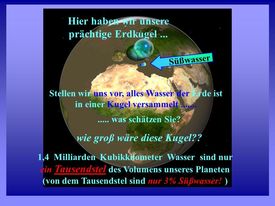 Wasser 1,4 Milliarden Kubikkilometer Wasser sind nur ein Tausendstel Tausendstel des Volumens unseres Planeten (von dem Tausendstel sind nur 3% Süßwas
