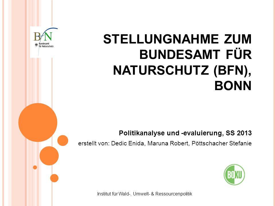 STELLUNGNAHME ZUM BUNDESAMT FÜR NATURSCHUTZ (BFN), BONN Politikanalyse und -evaluierung, SS 2013 erstellt von: Dedic Enida, Maruna Robert, Pöttschache