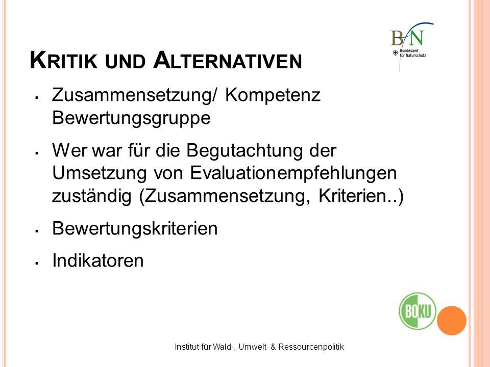 K RITIK UND A LTERNATIVEN Zusammensetzung/ Kompetenz Bewertungsgruppe Wer war für die Begutachtung der Umsetzung von Evaluationempfehlungen zuständig