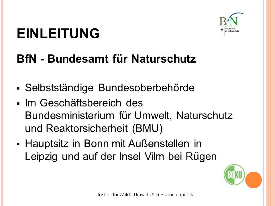BfN - Bundesamt für Naturschutz Selbstständige Bundesoberbehörde Im Geschäftsbereich des Bundesministerium für Umwelt, Naturschutz und Reaktorsicherhe