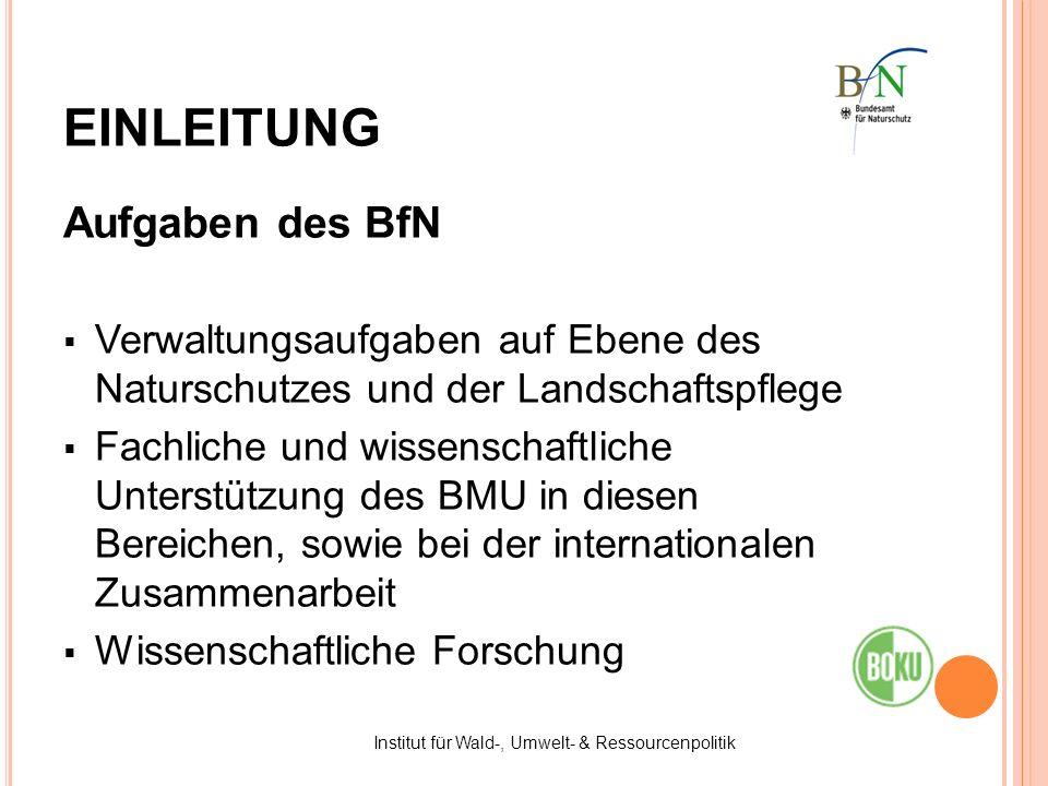 Aufgaben des BfN Verwaltungsaufgaben auf Ebene des Naturschutzes und der Landschaftspflege Fachliche und wissenschaftliche Unterstützung des BMU in di