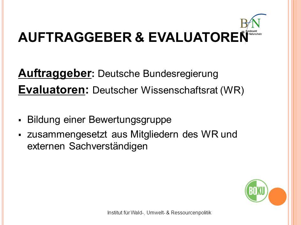Auftraggeber : Deutsche Bundesregierung Evaluatoren: Deutscher Wissenschaftsrat (WR) Bildung einer Bewertungsgruppe zusammengesetzt aus Mitgliedern de