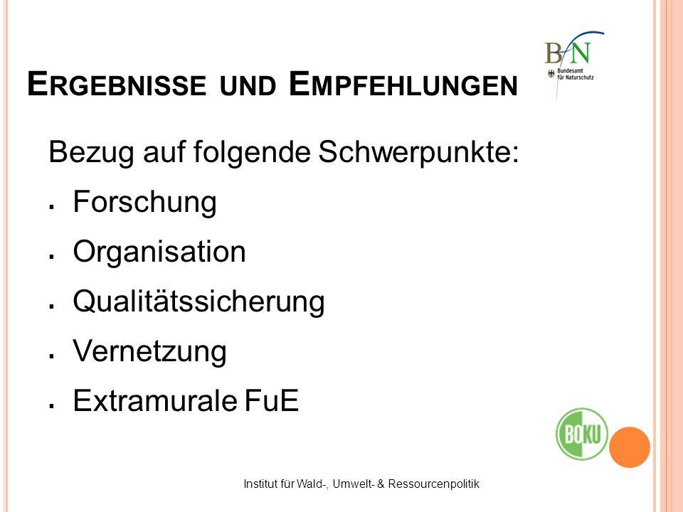 E RGEBNISSE UND E MPFEHLUNGEN Bezug auf folgende Schwerpunkte: Forschung Organisation Qualitätssicherung Vernetzung Extramurale FuE Institut für Wald-