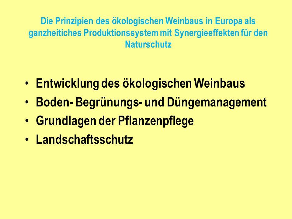 Die Prinzipien des ökologischen Weinbaus in Europa als ganzheitiches Produktionssystem mit Synergieeffekten für den Naturschutz Entwicklung des ökolog