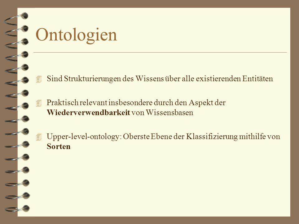 Ontologien 4 Sind Strukturierungen des Wissens über alle existierenden Entitäten 4 Praktisch relevant insbesondere durch den Aspekt der Wiederverwendbarkeit von Wissensbasen 4 Upper-level-ontology: Oberste Ebene der Klassifizierung mithilfe von Sorten
