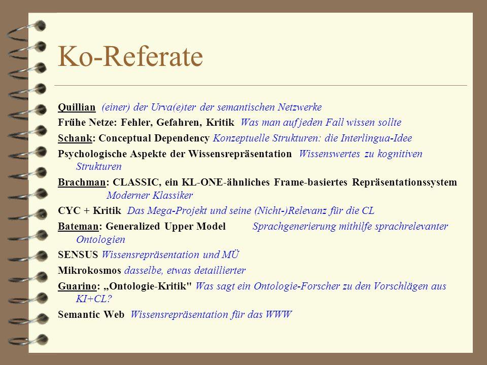 Ko-Referate Quillian (einer) der Urva(e)ter der semantischen Netzwerke Frühe Netze: Fehler, Gefahren, Kritik Was man auf jeden Fall wissen sollte Schank: Conceptual Dependency Konzeptuelle Strukturen: die Interlingua-Idee Psychologische Aspekte der Wissensrepräsentation Wissenswertes zu kognitiven Strukturen Brachman: CLASSIC, ein KL-ONE-ähnliches Frame-basiertes Repräsentationssystem Moderner Klassiker CYC + Kritik Das Mega-Projekt und seine (Nicht-)Relevanz für die CL Bateman: Generalized Upper Model Sprachgenerierung mithilfe sprachrelevanter Ontologien SENSUS Wissensrepräsentation und MÜ Mikrokosmos dasselbe, etwas detaillierter Guarino: Ontologie-Kritik Was sagt ein Ontologie-Forscher zu den Vorschlägen aus KI+CL.