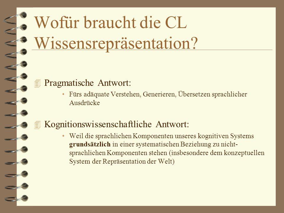 Wofür braucht die CL Wissensrepräsentation.
