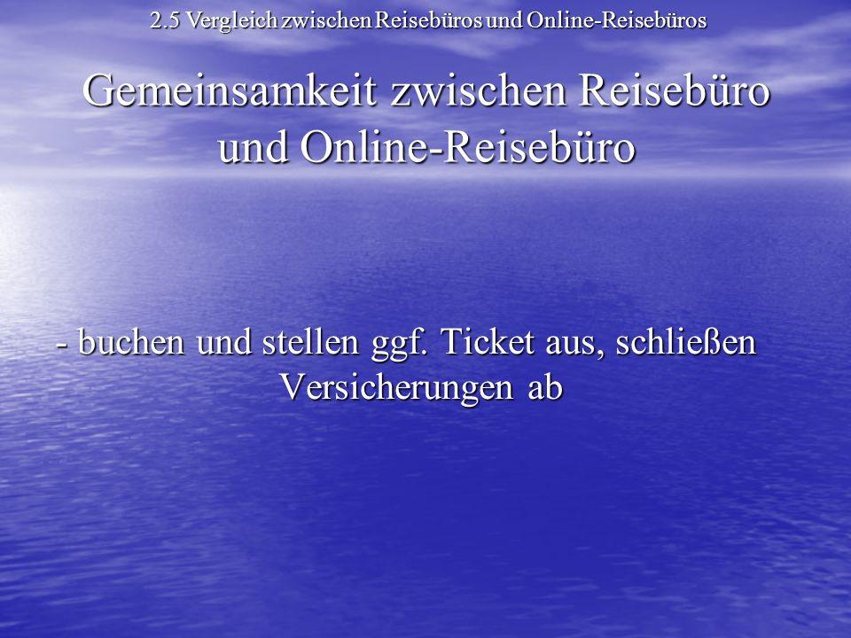 Gemeinsamkeit zwischen Reisebüro und Online-Reisebüro - buchen und stellen ggf.