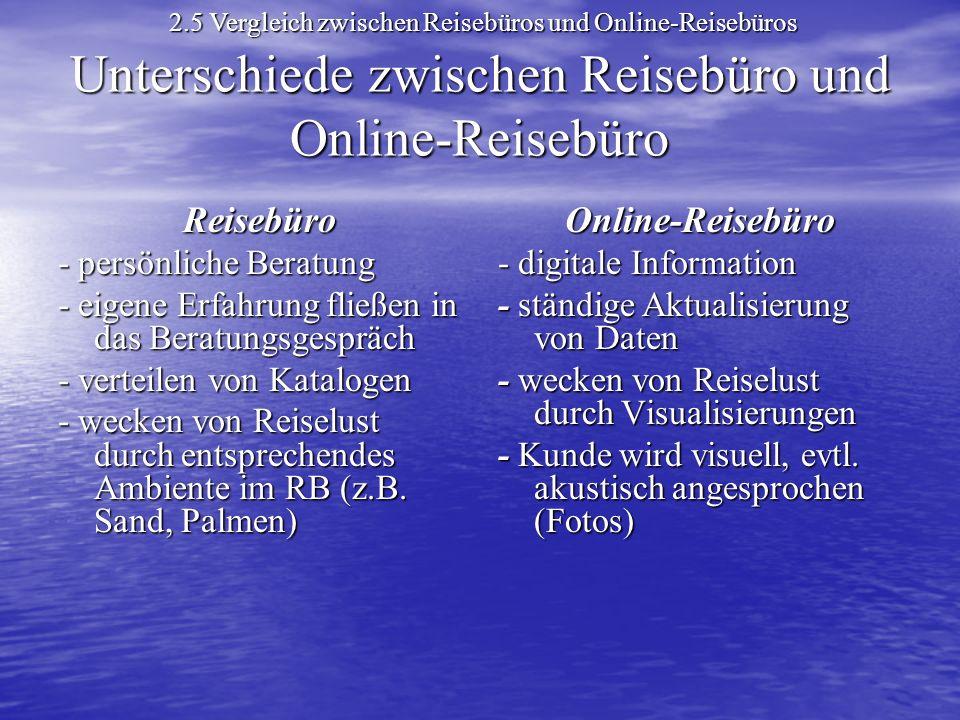 Unterschiede zwischen Reisebüro und Online-Reisebüro Reisebüro -persönliche Beratung - persönliche Beratung - eigene Erfahrung fließen in das Beratungsgespräch - verteilen von Katalogen - wecken von Reiselust durch entsprechendes Ambiente im RB (z.B.