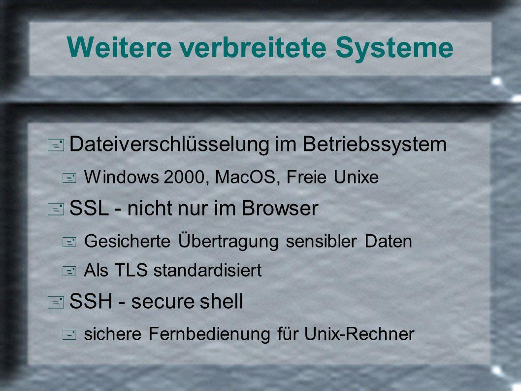 Weitere verbreitete Systeme + Dateiverschlüsselung im Betriebssystem + Windows 2000, MacOS, Freie Unixe + SSL - nicht nur im Browser + Gesicherte Über