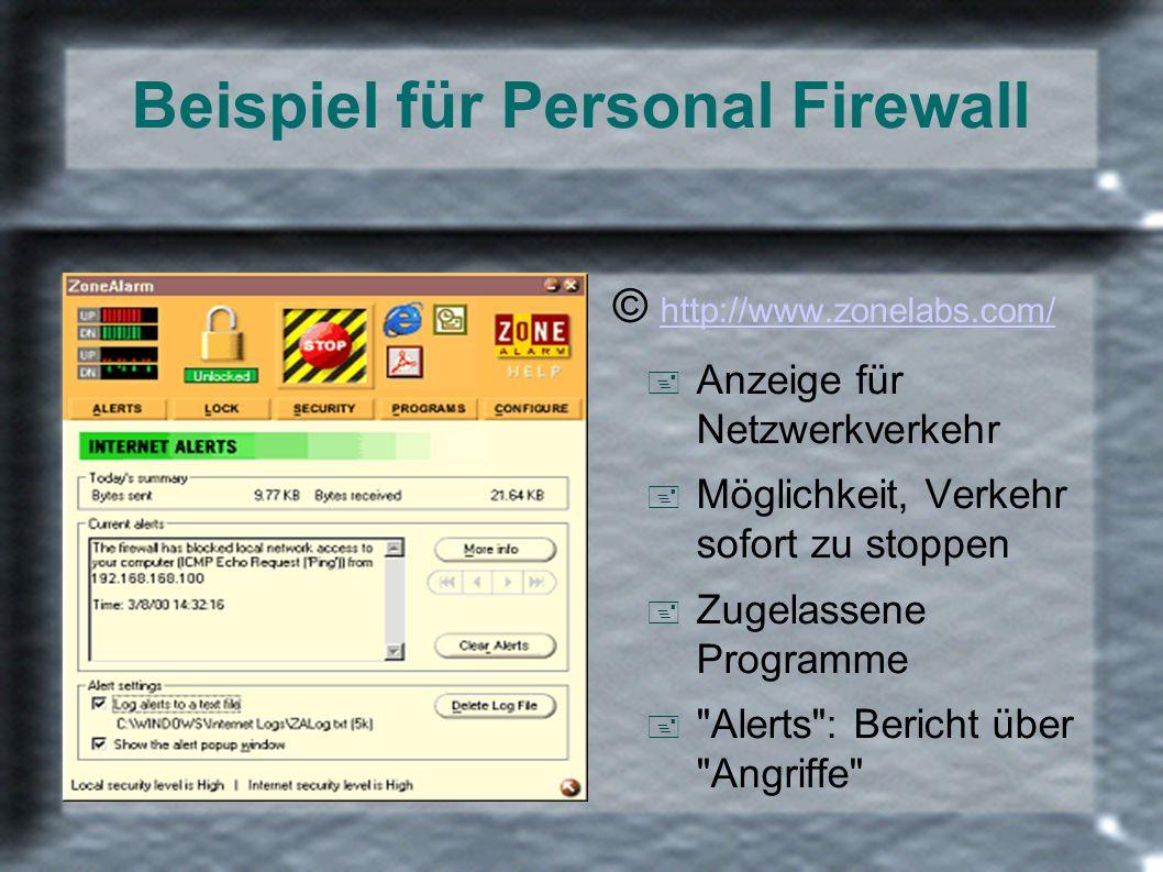 Beispiel für Personal Firewall © http://www.zonelabs.com/ http://www.zonelabs.com/ + Anzeige für Netzwerkverkehr + Möglichkeit, Verkehr sofort zu stop