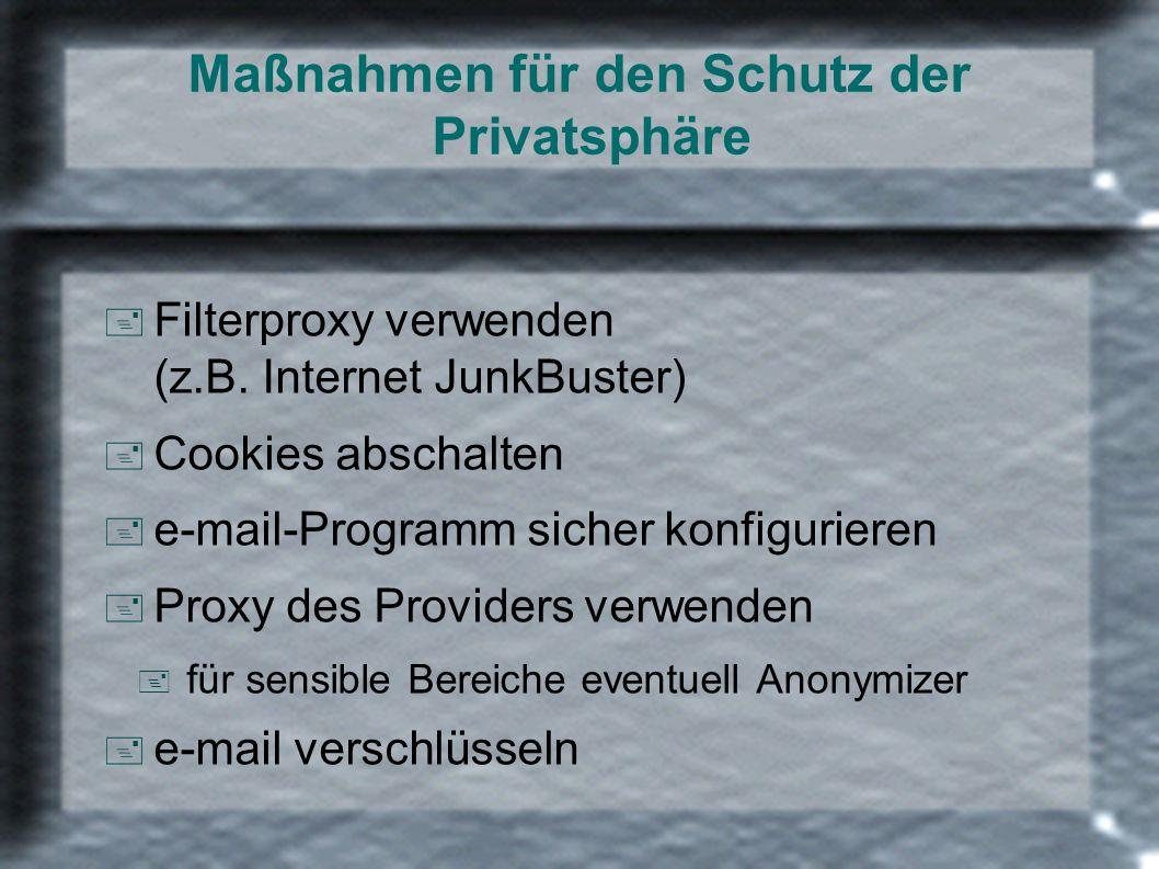 Maßnahmen für den Schutz der Privatsphäre + Filterproxy verwenden (z.B. Internet JunkBuster) + Cookies abschalten + e-mail-Programm sicher konfigurier