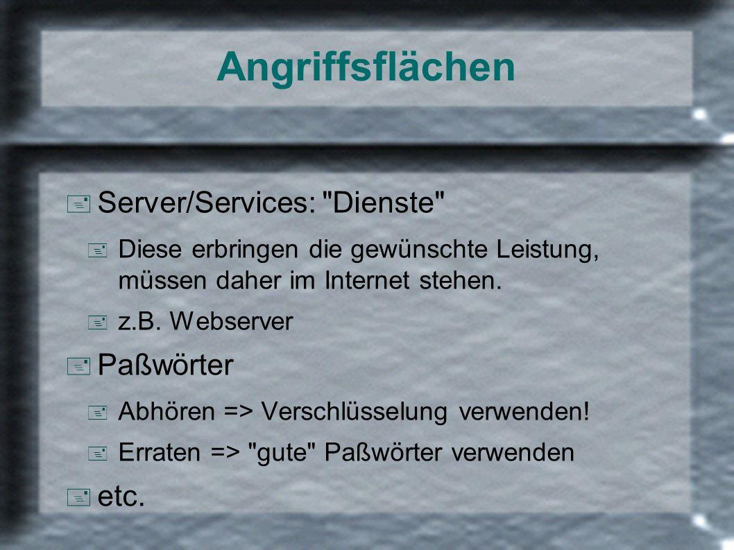 Angriffsflächen + Server/Services: