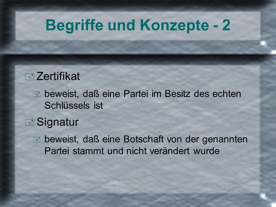 Begriffe und Konzepte - 2 + Zertifikat + beweist, daß eine Partei im Besitz des echten Schlüssels ist + Signatur + beweist, daß eine Botschaft von der