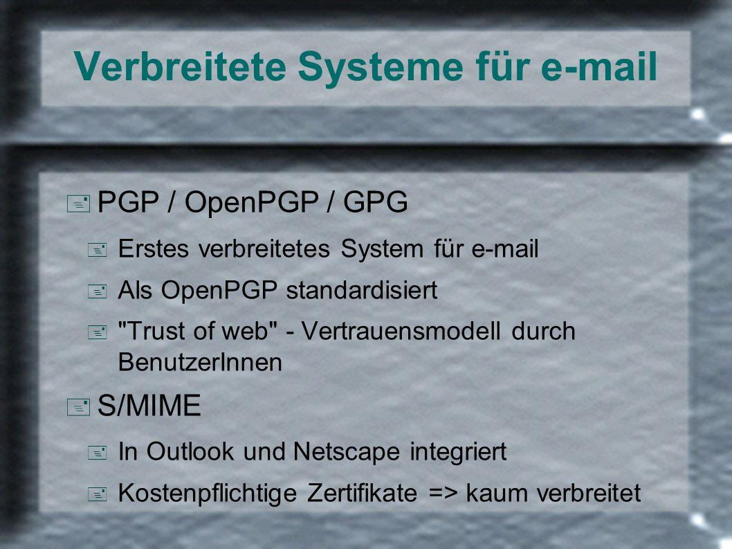 Verbreitete Systeme für e-mail + PGP / OpenPGP / GPG + Erstes verbreitetes System für e-mail + Als OpenPGP standardisiert +
