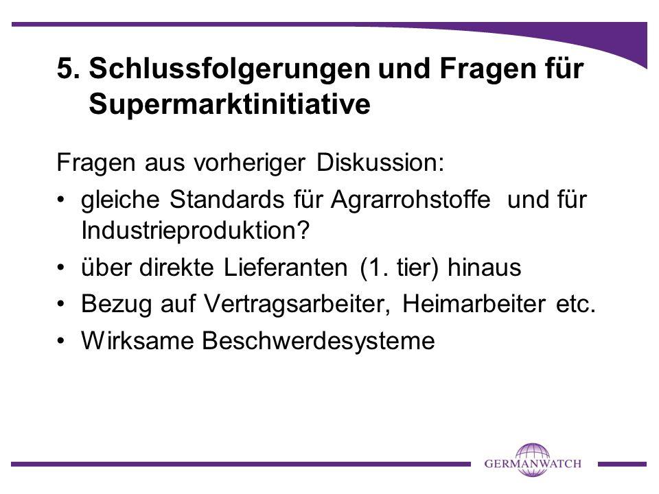 5. Schlussfolgerungen und Fragen für Supermarktinitiative Fragen aus vorheriger Diskussion: gleiche Standards für Agrarrohstoffe und für Industrieprod