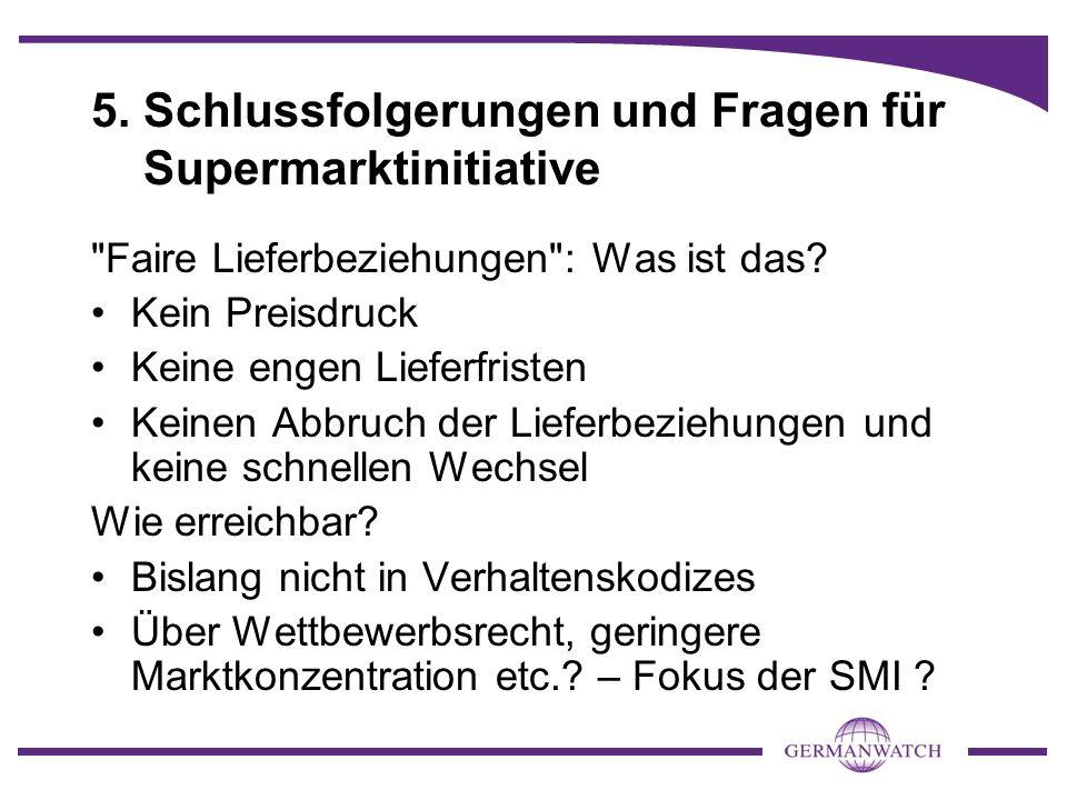 5. Schlussfolgerungen und Fragen für Supermarktinitiative