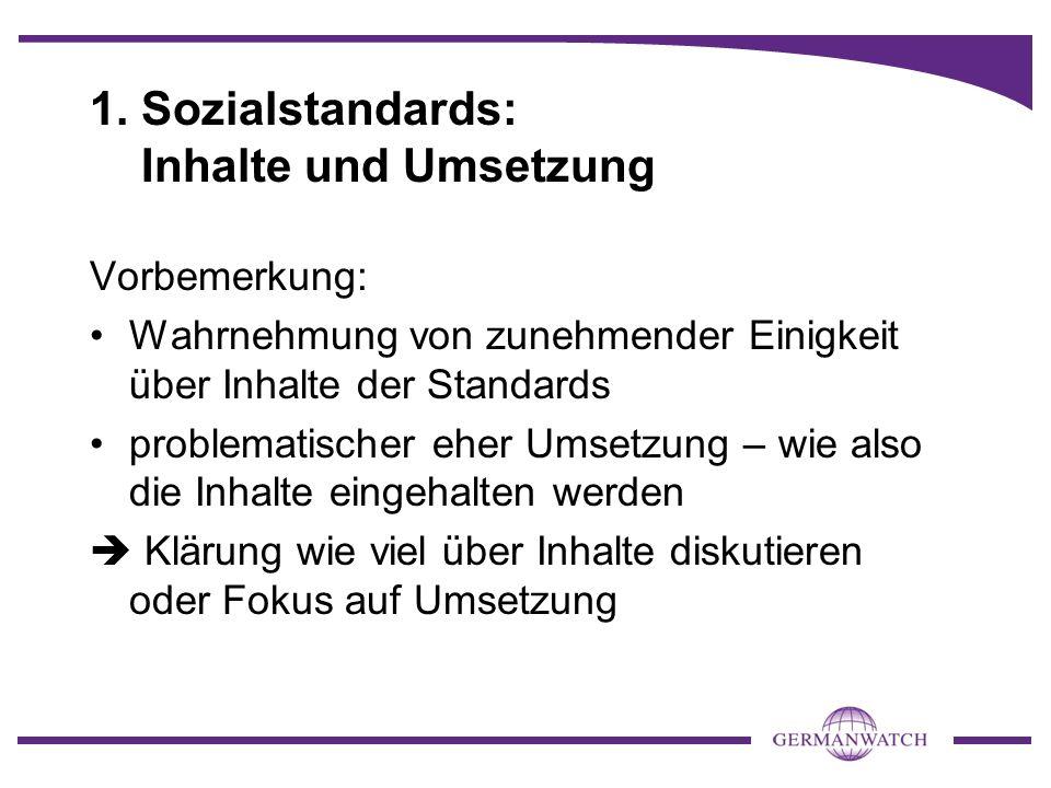 1. Sozialstandards: Inhalte und Umsetzung Vorbemerkung: Wahrnehmung von zunehmender Einigkeit über Inhalte der Standards problematischer eher Umsetzun