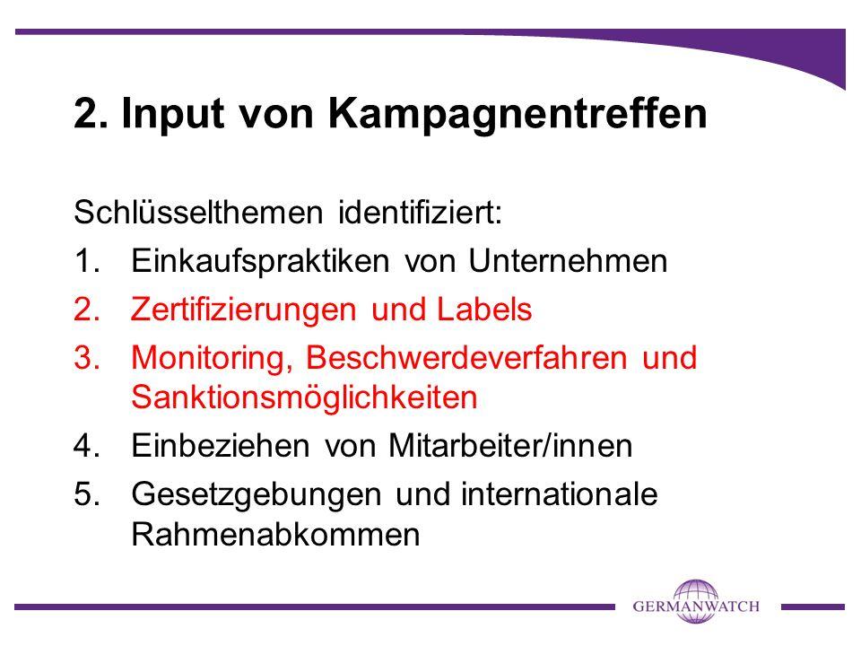 2. Input von Kampagnentreffen Schlüsselthemen identifiziert: 1.Einkaufspraktiken von Unternehmen 2.Zertifizierungen und Labels 3.Monitoring, Beschwerd