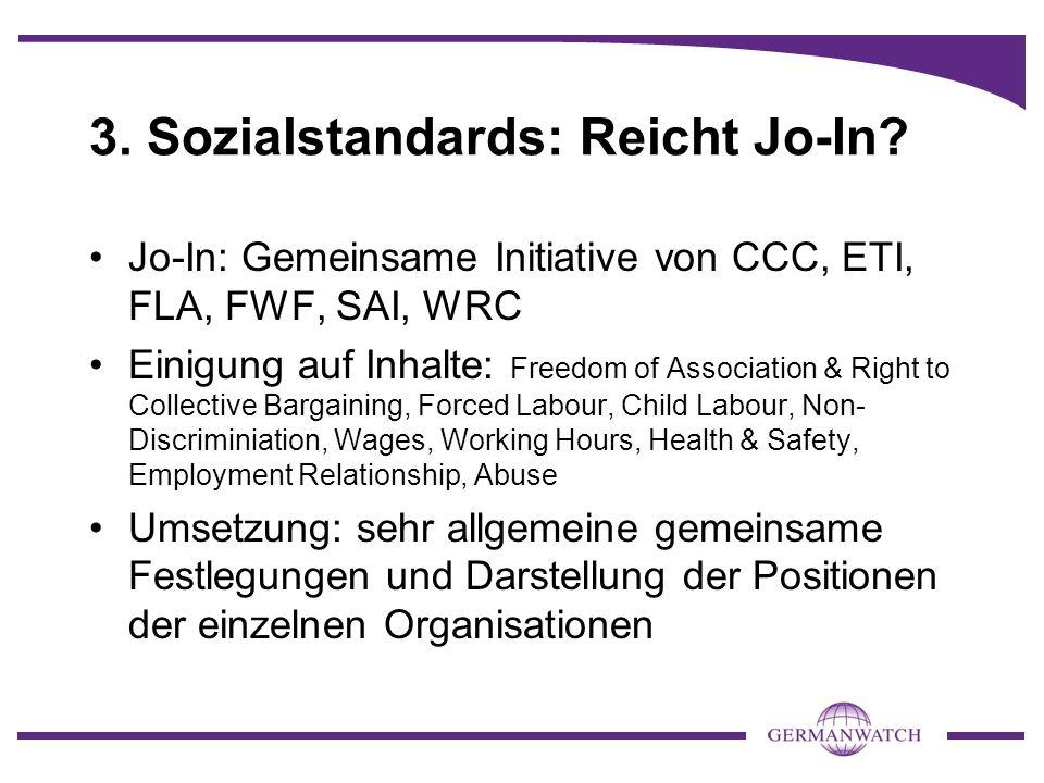 3. Sozialstandards: Reicht Jo-In? Jo-In: Gemeinsame Initiative von CCC, ETI, FLA, FWF, SAI, WRC Einigung auf Inhalte: Freedom of Association & Right t